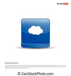 nuvola, icona, -, 3d, blu, bottone