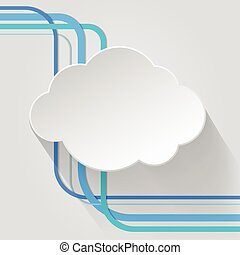 nuvola, icona, con, filo