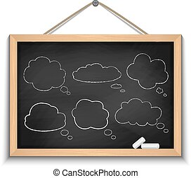 nuvola, lavagna, discorso, bolle