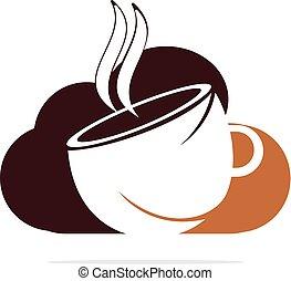 nuvola, logotipo, design., icona, caffè