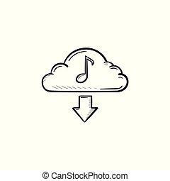 nuvola, musica, concetto, mano, disegnato, contorno, scarabocchiare, icon.