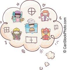 nuvola, pensare, bambini, stickman, professioni