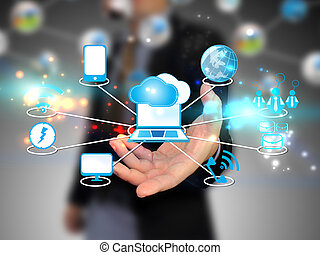 nuvola, presa a terra, uomo affari, tecnologia, calcolare, concetto