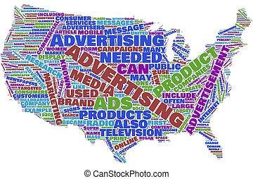 nuvola, pubblicità, mappa, stati, unito, parola