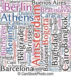 nuvola, relativo, fondo, città, mondo, parola