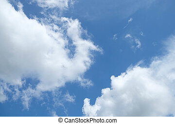 nuvola, su, cielo blu, fondo