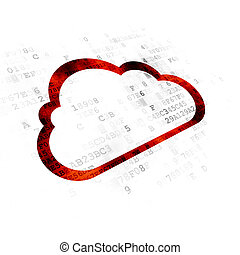 nuvola, tecnologia, concept:, nuvola, su, sfondo digitale