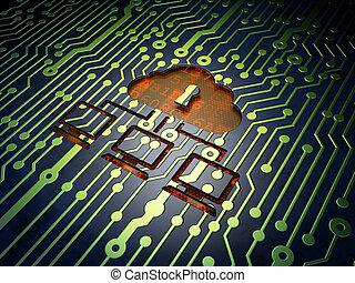 nuvola, tecnologia, concept:, scheda circuito, con, nuvola, rete, icona, 3d, render