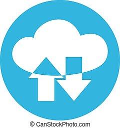 nuvola, trasmissione dati, icona