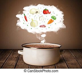 nuvola, vapore, verdura