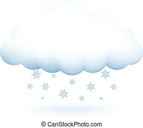 nuvola, vettore, fiocchi neve, illustrazione