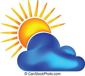 nuvoloso, e, giorno pieno sole, logotipo, vettore