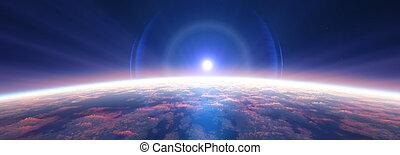 nuvoloso, ocean., alba, 3d, interpretazione, terra, spazio, sopra