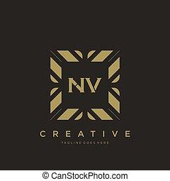 NV initial letter luxury ornament monogram logo template vector art