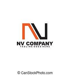 NV letter initial logo design vector template