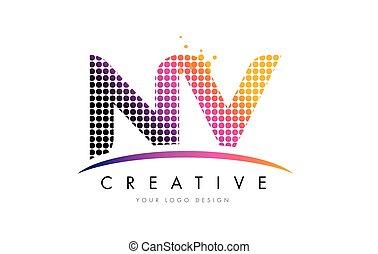 NV N V Letter Logo Design with Magenta Dots and Swoosh