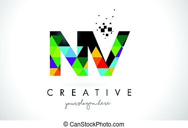 NV N V Letter Logo with Colorful Triangles Texture Design Vector.