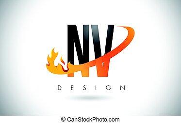 NV N V Letter Logo with Fire Flames Design and Orange Swoosh.