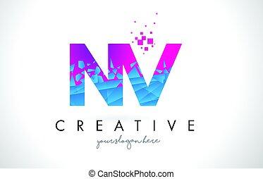 NV N V Letter Logo with Shattered Broken Blue Pink Texture Design Vector.
