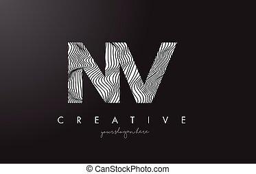 NV N V Letter Logo with Zebra Lines Texture Design Vector.