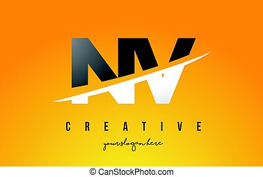 NV N V Letter Modern Logo Design with Yellow Background and Swoosh.
