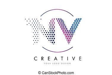 NV N V Pink Magenta Dotted Bubble Letter Logo Design Vector