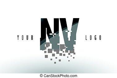 NV N V Pixel Letter Logo with Digital Shattered Black Squares