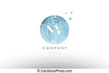 nv n v watercolor grunge vintage alphabet company letter combination logo circle design vector icon template