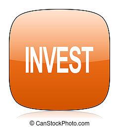 nvest orange square web design glossy icon
