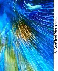 abstract photo, unique, innovative, eye catching, vibrant color of aqua, blue, gold, green, shows movement