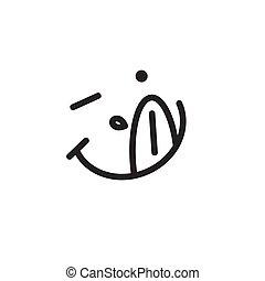 nyál, emoticon, nyelv