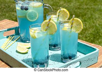 nyár, áfonya, limonádé, felfrissítő, iszik