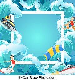 nyár, állhatatos, szörfözás, szünidő, tervezés, tenger, fogalom, elszigetelt, sport, tengerpart, alapismeretek, lenget, víz, háttér, aktivál, karikatúra, extrém, életmód, ábra, vektor, elfoglaltság, móka, kaland