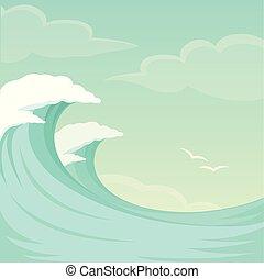 nyár, ég, lenget, víz, háttér, tenger, óceán lenget