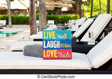 nyár, élet, szeret, belélegzési, fából való, árajánlatot tesz, motivációs, forrás, él, nagyon, bizottság, nevet, gyakran