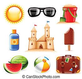 nyár, és, tengerpart, kapcsolódó, ikonok