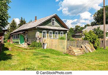 nyár, öreg, faház, napos, falu, orosz, vidéki, nap
