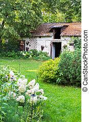 nyár, öreg, kert, major épület, villaház