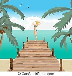 nyár, öreg, tengerpart, nő, tenger, szőke, táj, álló, pier., öltözött, emelés, lakás, övé, ábra, napozik, karikatúra, hands., fából való, női fürdőruha, vektor, zöld, nap