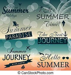 nyár, alapismeretek, szüret, elnevezés, ábra, calligraphic, vektor, tervezés, collection.