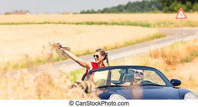 nyár, autó, joyride, átváltható, barátok, birtoklás