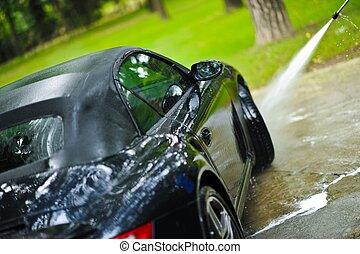 nyár, autó, takarítás
