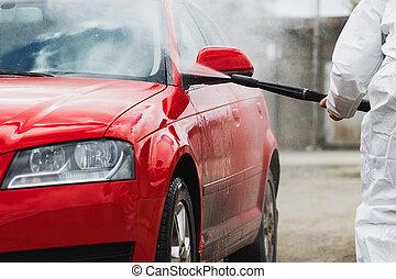 nyár, autó, washing., takarítás, autó, használ, magasnyomás, víz