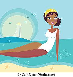 nyár, bágyasztó, víz, retro, tenger, leány, tengerpart