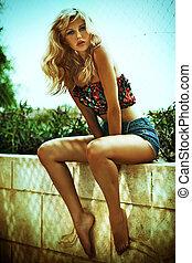 nyár, bámulatos, nő, szőke, fénykép