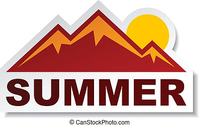 nyár, böllér, vektor, hegy