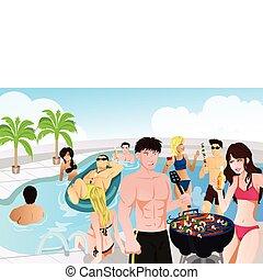 nyár, barbeque, tavacska buli