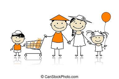 nyár, bevásárlás, család, holidays., tervezés, kosár, -e, boldog