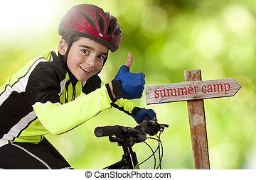 nyár, bicikli, tábor