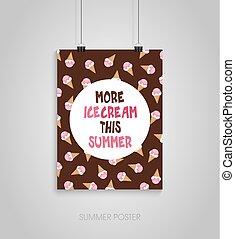 nyár, card., ez, poszter, creame, jég, több